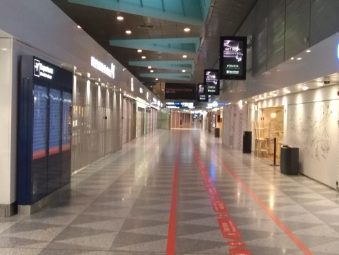 Empty departure halls, Helsinki airport, 16th May 2020